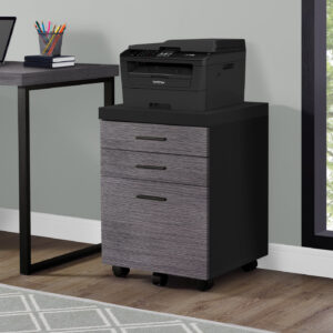 FILING CABINET – 3 DRAWER / BLACK / GREY ON CASTORS
