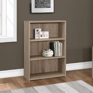 BOOKCASE – 36″H / DARK TAUPE WITH 3 SHELVES