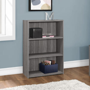 BOOKCASE – 36″H / GREY WITH 3 SHELVES