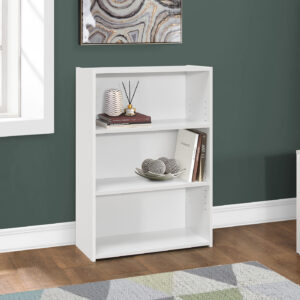 BOOKCASE – 36″H / WHITE WITH 3 SHELVES