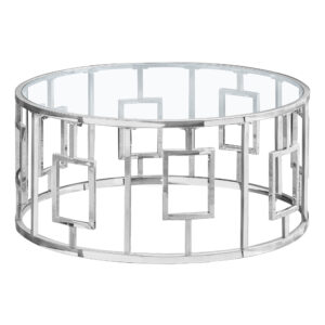 COFFEE TABLE – 36″DIA / CHROME METAL WITH TEMPERED GLASS