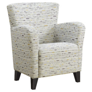 ACCENT CHAIR – EARTH TONE GRAPHIC PATTERN FABRIC