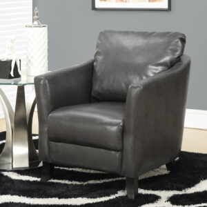 ACCENT CHAIR – CHARCOAL GREY LEATHER-LOOK FABRIC
