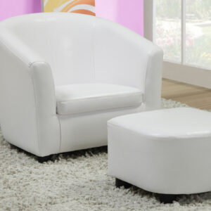 JUVENILE CHAIR – 2 PCS SET / WHITE LEATHER-LOOK FABRIC