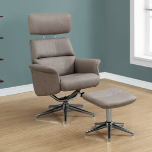 RECLINING CHAIR – 2PCS SET / TAUPE SWIVEL ADJUST HEADREST