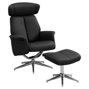 RECLINING CHAIR – 2PCS SET / BLACK SWIVEL ADJUST HEADREST