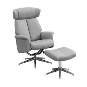 RECLINING CHAIR – 2PCS SET / GREY SWIVEL -ADJUST HEADREST