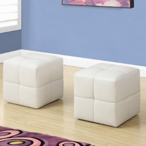 OTTOMAN – 2PCS SET / JUVENILE / WHITE LEATHER-LOOK