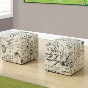OTTOMAN – 2PCS SET / JUVENILE / VINTAGE FRENCH FABRIC
