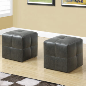 OTTOMAN – 2PCS SET / JUVENILE/ CHARCOAL GREY LEATHER-LOOK