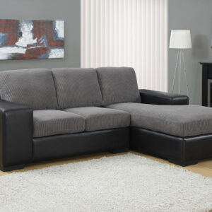 SOFA LOUNGER – GREY CORDUROY WITH BLACK LEATHER-LOOK