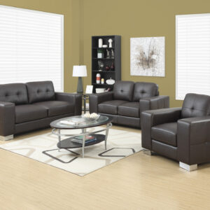 LOVE SEAT – DARK BROWN BONDED LEATHER
