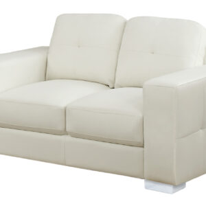 LOVE SEAT – IVORY BONDED LEATHER