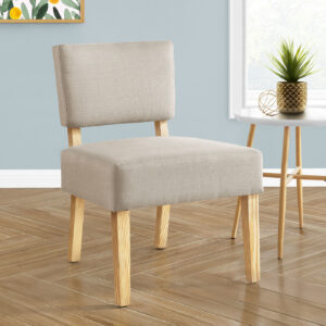 ACCENT CHAIR – TAUPE FABRIC / NATURAL WOOD LEGS