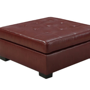 OTTOMAN – RED LEATHER-LOOK