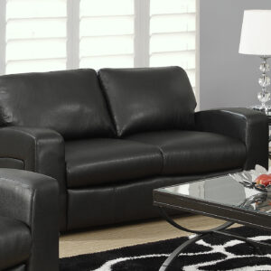 LOVE SEAT – BLACK BONDED LEATHER