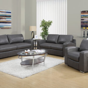 LOVE SEAT – CHARCOAL GREY BONDED LEATHER