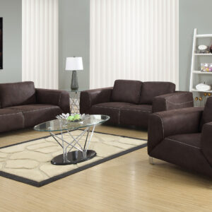 LOVE SEAT – CHOCOLATE BROWN / TAN CONTRAST MICRO-SUEDE