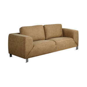 LOVE SEAT – TAN / CHOCOLATE BROWN CONTRAST MICRO-SUEDE