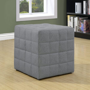 OTTOMAN – LIGHT GREY LINEN-LOOK FABRIC