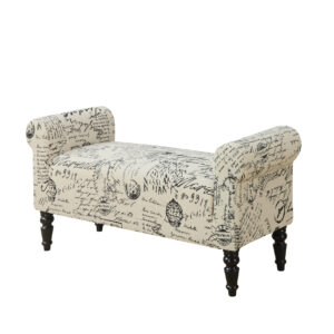 BENCH – 44″L / TRADITIONAL STYLE VINTAGE FRENCH FABRIC