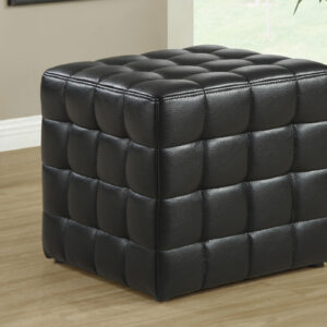 OTTOMAN – BLACK LEATHER-LOOK FABRIC