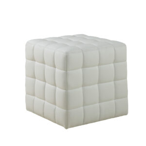 OTTOMAN – WHITE LEATHER-LOOK FABRIC