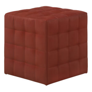 OTTOMAN – RED LEATHER-LOOK FABRIC