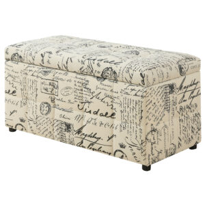 OTTOMAN – 38″L / STORAGE / VINTAGE FRENCH FABRIC
