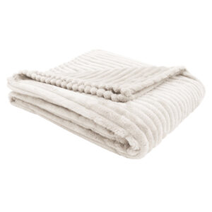 THROW – 60″ X 50″ / IVORY ULTRA SOFT RIBBED STYLE