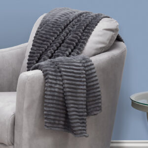 THROW – 60″ X 50″ / GREY ULTRA SOFT RIBBED STYLE