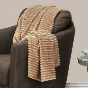 THROW – 60″ X 50″ / BEIGE ULTRA SOFT RIBBED STYLE