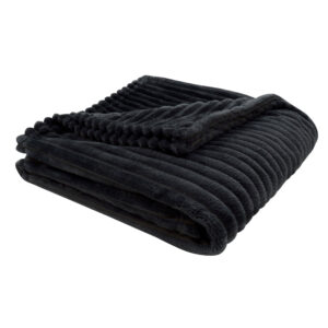 THROW – 60″ X 50″ / BLACK ULTRA SOFT RIBBED STYLE