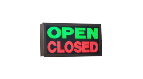 TCS Signs model 917 LED backlit drive thru OPEN CLOSED sign in dark bronze.