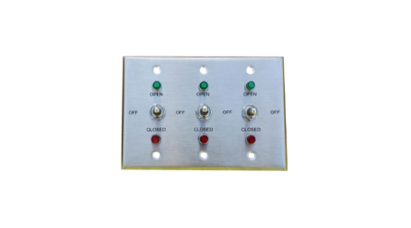 TCS Signs 3-gang stainless steel switch plate.