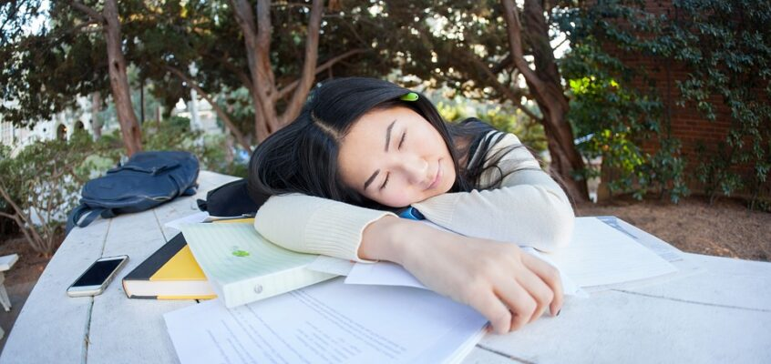 sleeping student girl
