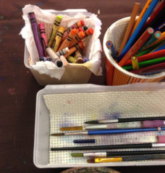 Art Table supplies for use during church services. Adapted from Creative Church Handbook