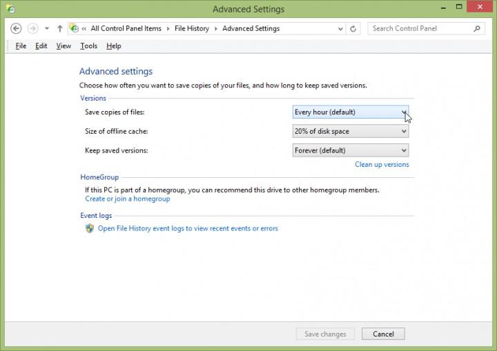 Screenshot - Windows 8.1 - File History -> Advanced Settings