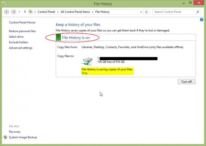 Screenshot - Windows 8.1 - File History