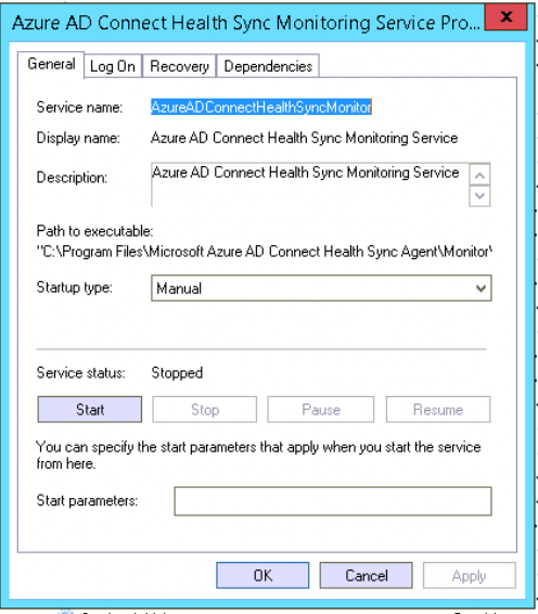 Disable Azure AD Connect Health Sync Monitoring Service