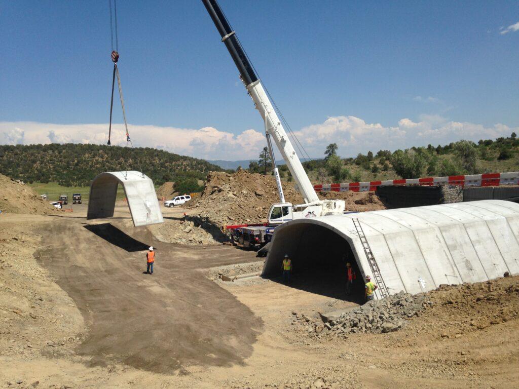 Construction work on a wildlife underpass along US-160 near Dry Creek