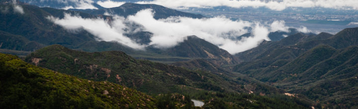 Running Springs, CA: Clouds Cling To Mountainside