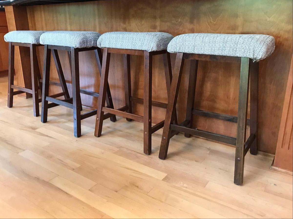 Stools are recovered for comfort and style at a cost-savings.