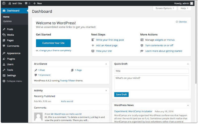 WordPress Dashboard Editing