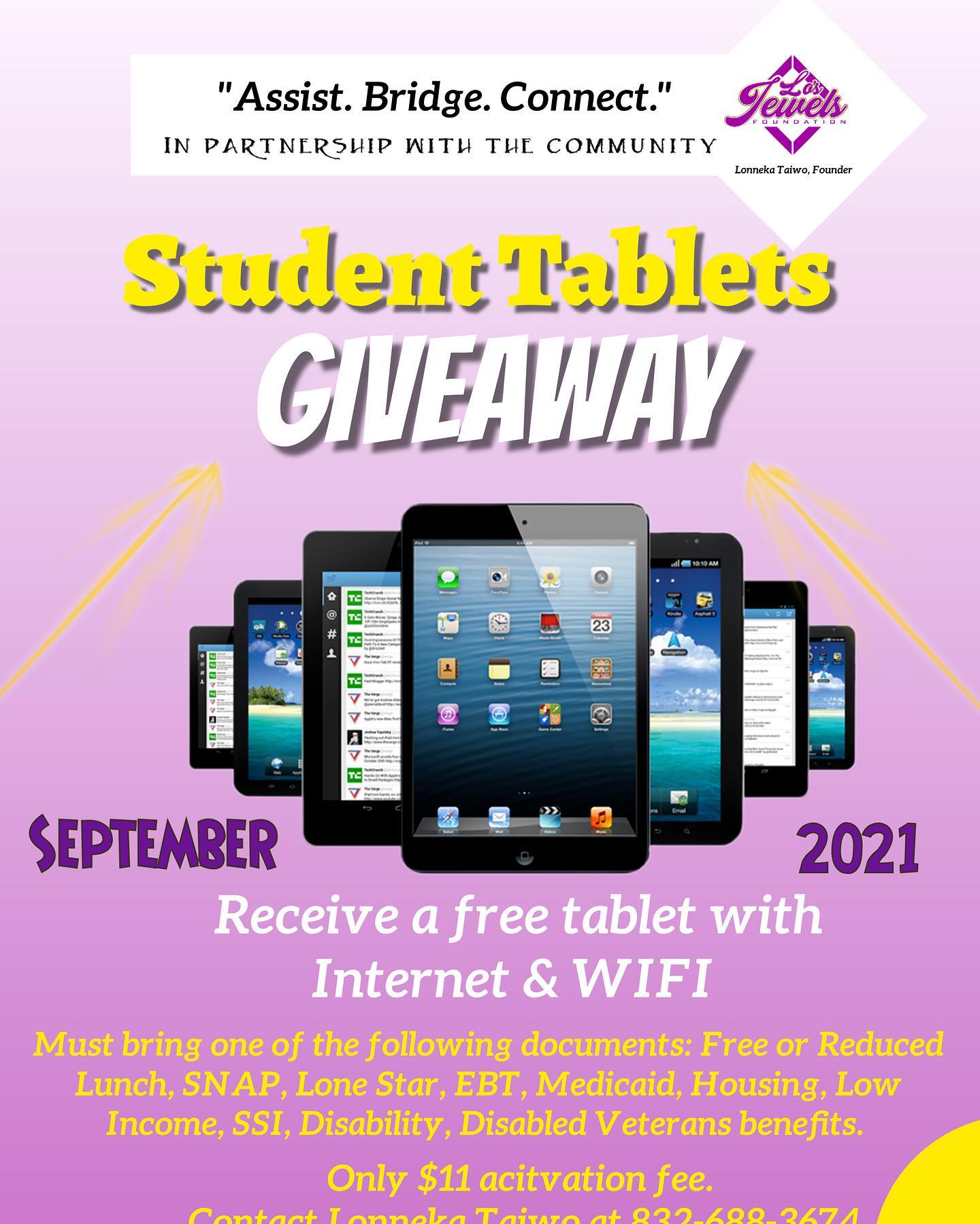 Families are receiving FREE Tablets with Internet  WiFi service.