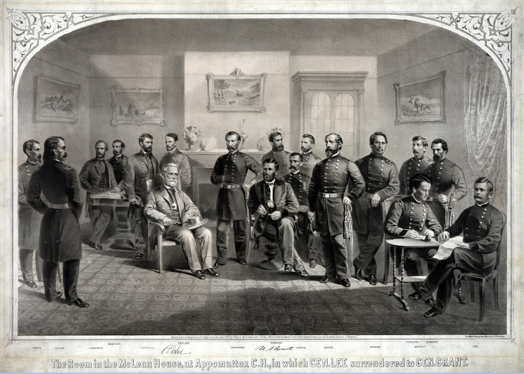 General Lee Surrenders to General Grant. The War is over.