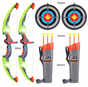 2-Sets-Archery-Bow-and-Arrow-for-Kid box, quiver, arrows, and targets