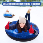 EJOY-Snow-Tube-Inflatable-Snow-Sled woman in snow