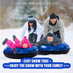 EJOY-Snow-Tube-Inflatable-Snow-Sled family in snow