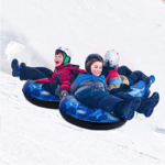 EJOY-Snow-Tube-Inflatable-Snow-Sled kids playing in snow